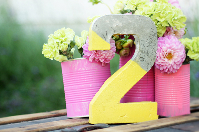 These Concrete DIY Table Numbers add a more modern touch and make a bold statement.