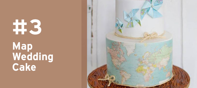 #Travel lover? Pay tribute to your love of jet-setting with this map-themed #wedding cake! See MORE travel details for #destinationweddings here.
