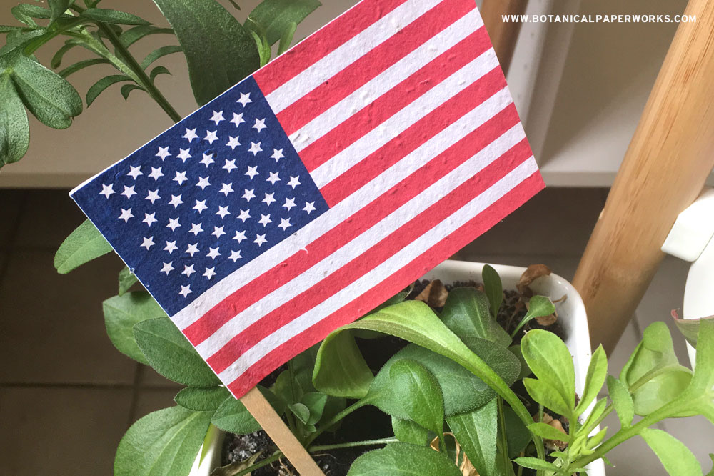 When it's time to celebrate American Independence Day this July, spread your message and branding with eco-friendly patriotic promotional flags that grow wildflowers.
