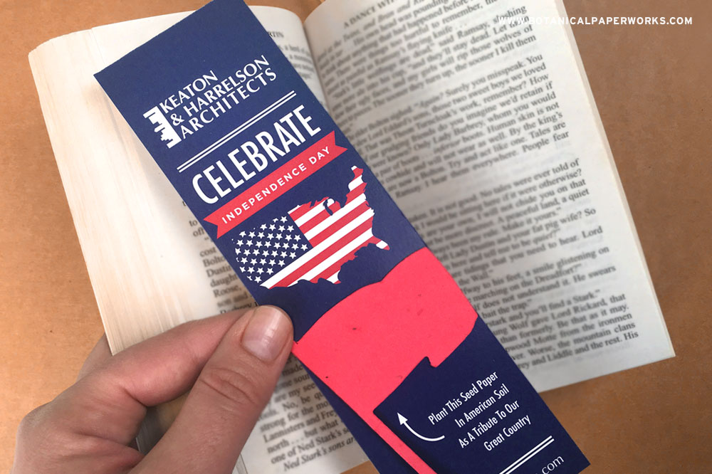 Eco Bookmarks are great giveway to share for Independence because they promote reading and give recipents wildlowers to grow.