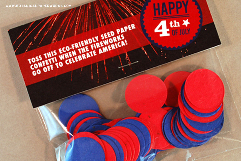 This fun eco-friendly package features plantable confetti to spread the joy of planting this 4th of July.