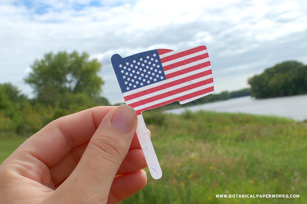 Share a seed paper flag shape giveaway to celebrate American and spread wildflowers!