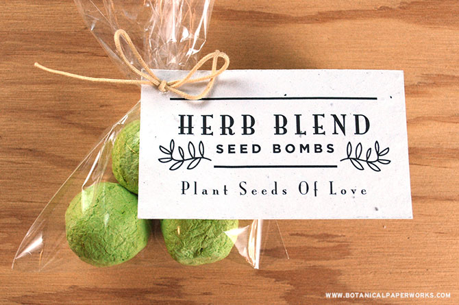 Guests will be thrilled to grow their own garden of fragrant summer-fresh herbs when you use them to create DIY Seed Bomb Wedding Favors!