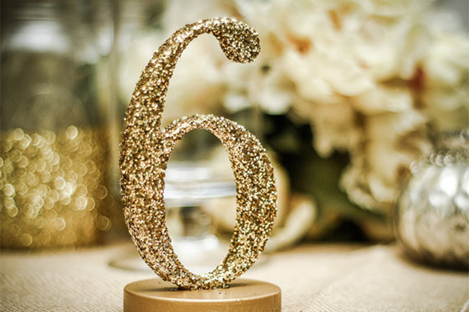 We love these glittery DIY Table Numbers.