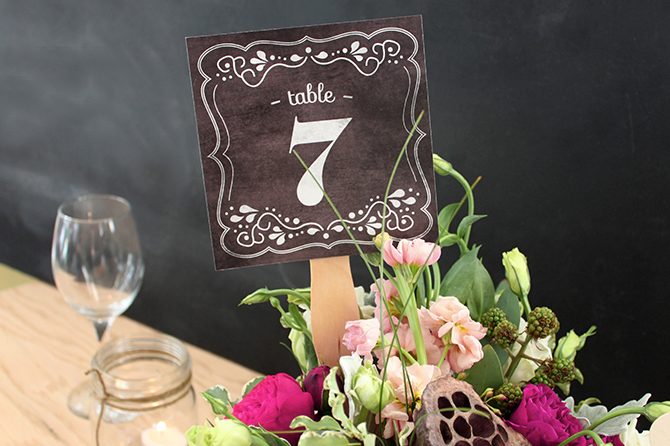 Add a romantic and vintage vibe to your centerpieces with these FREE printable chalkboard DIY table numbers.