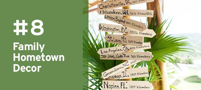 Use your #destinationwedding as a theme for decor & create these directions for where your guests came from. Take a look here for MORE travel-themed details for #destinationweddings!