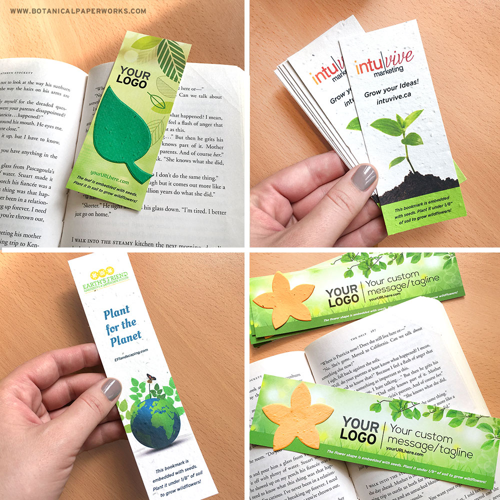 Add-your-logo to these designer seed paper bookmarks for giveaways and events.
