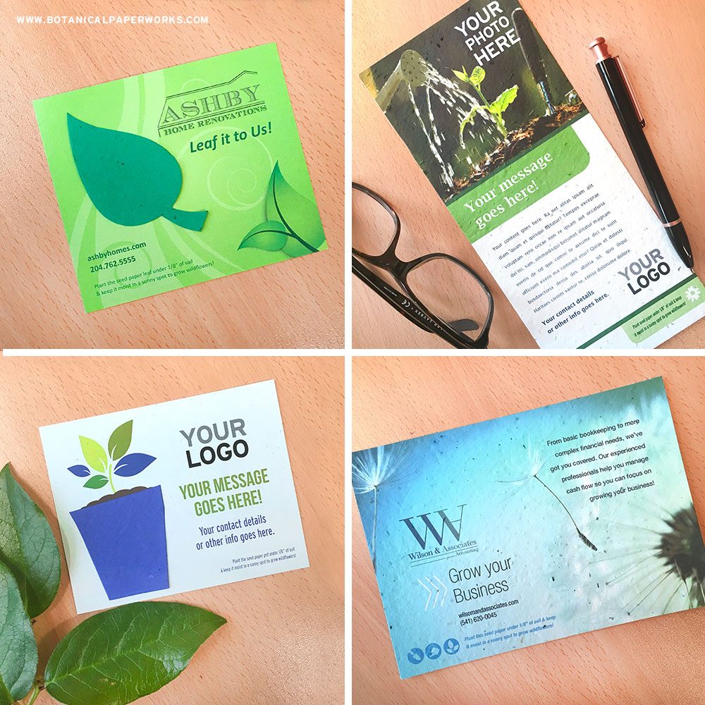 Choose from a variety of add-your-logo seed paper panel cards for direct mail, handouts, invitations & more.