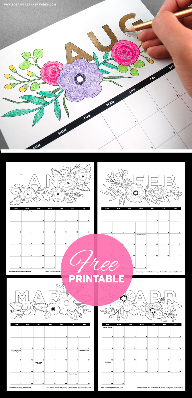 Get your creativity cap on and download this Free Printable Adult Coloring Book Calendar!