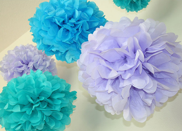 Check out these paper pompoms and other eco-friendly alernative to balloons for party planning.