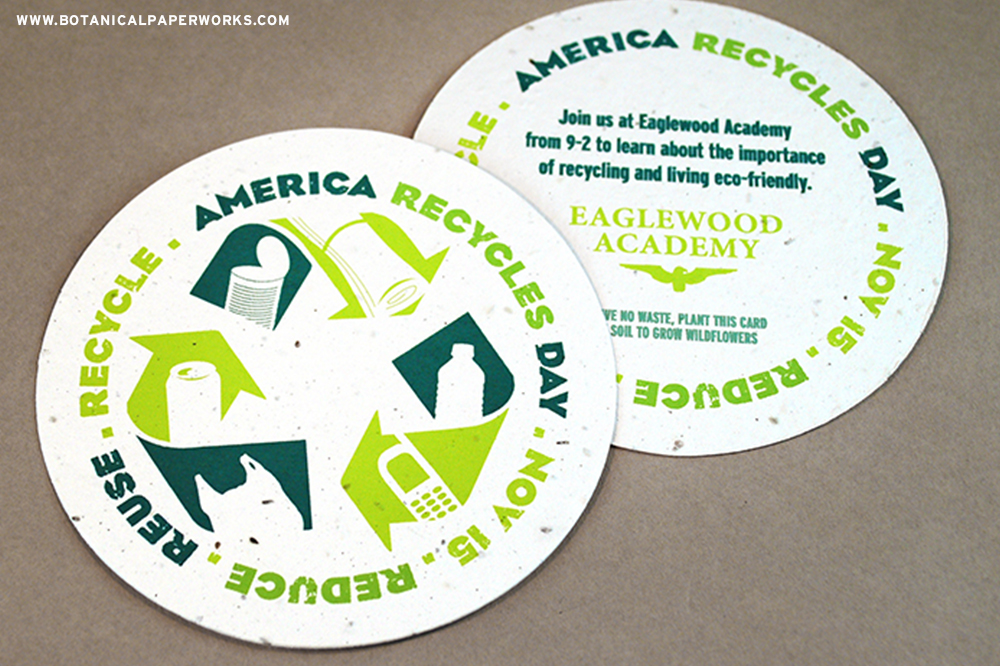 Leave no waste and promote America Recycles Day with seed paper coasters that make unique invite handouts.