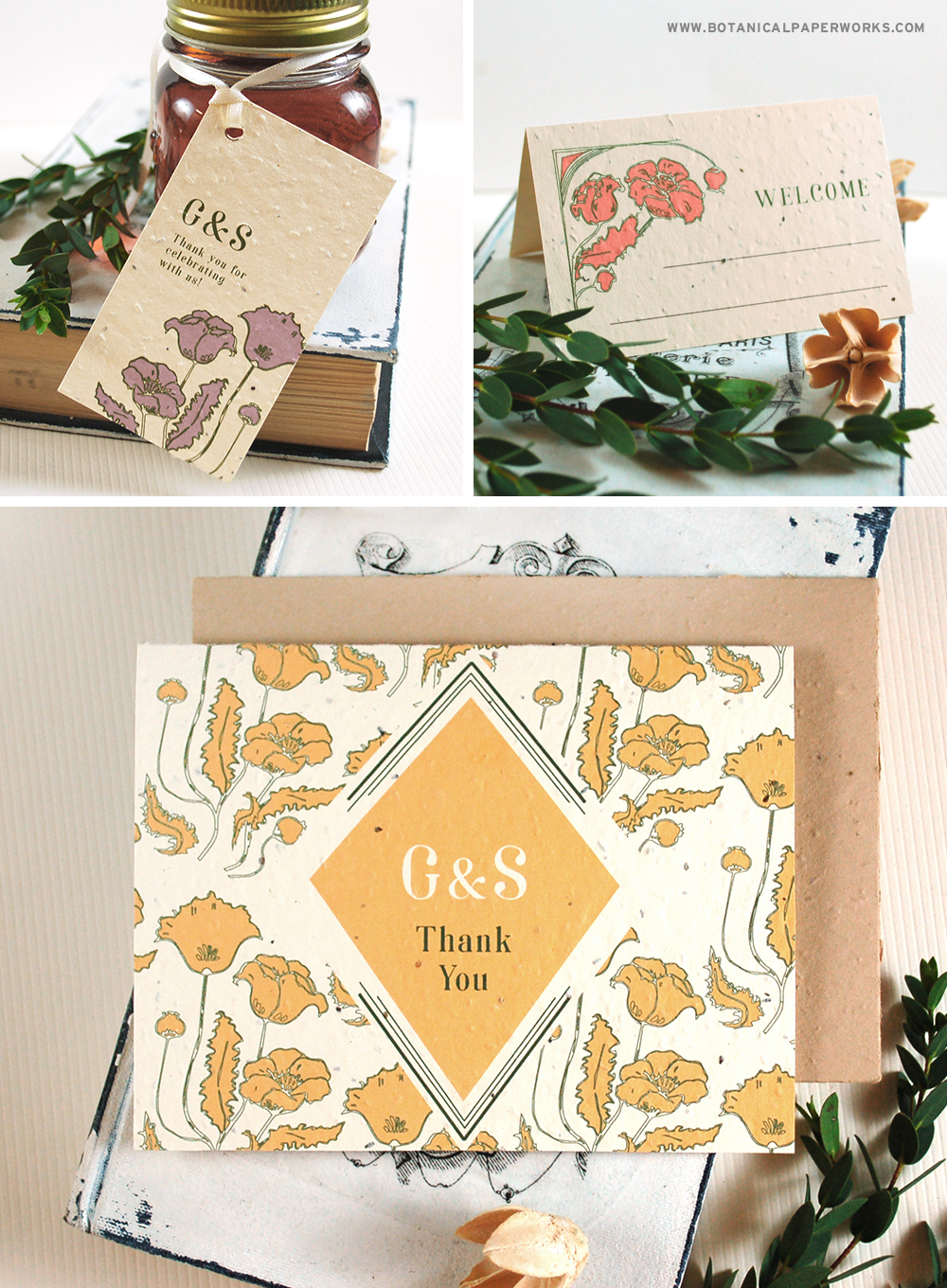 Inspired by the Art Nouveau style of art, this beautifully crafted seed paper wedding collection is filled with elegance and has an eclectic vibe you'll fall in love with.