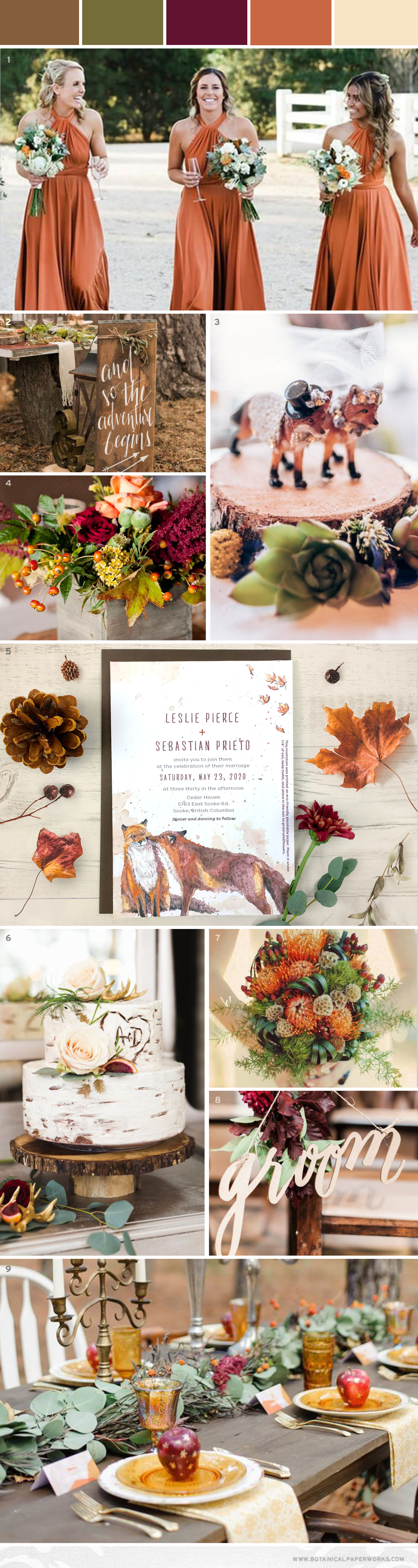 This autumn woodland wedding inspiration features classic fall colors and two adorable foxes!