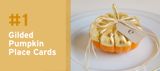 These gold pumpkin place cards will add an elegant touch to your autumn table settings.