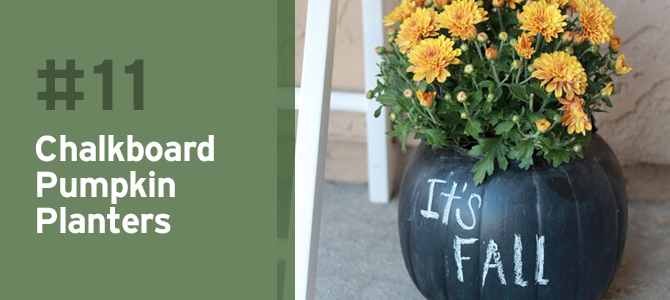Write a fun message on these chalkboard pumpkin planters to welcome guests to your home.