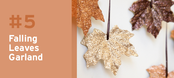 Add some sparkle to the fall color palette with these glittering leaves as garland.