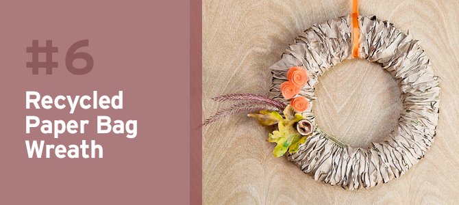 Be eco-friendly and use recycled paper bags to make this pretty fall wreath.