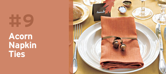 These acorn napkin ties will bring a touch of autumn to your table settings.