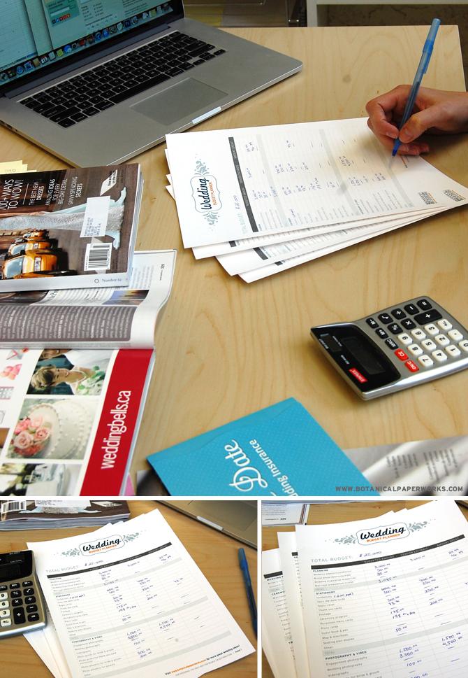 Botanical PaperWorks Free Printables: Wedding Budget Planner
