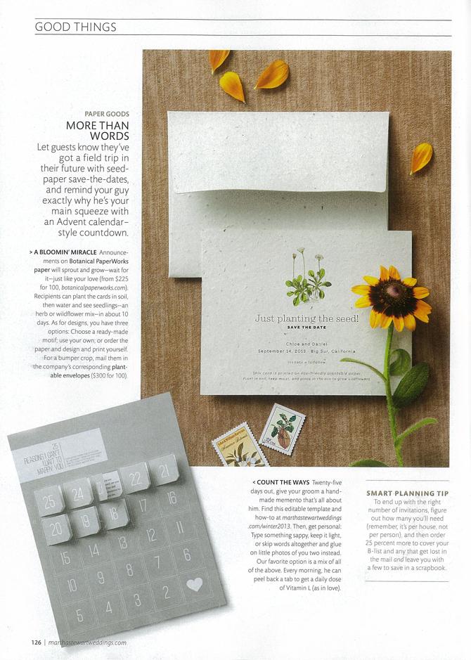 Botanical PaperWorks Plantable Custom Wedding Stationery featured in Martha Stewart Weddings