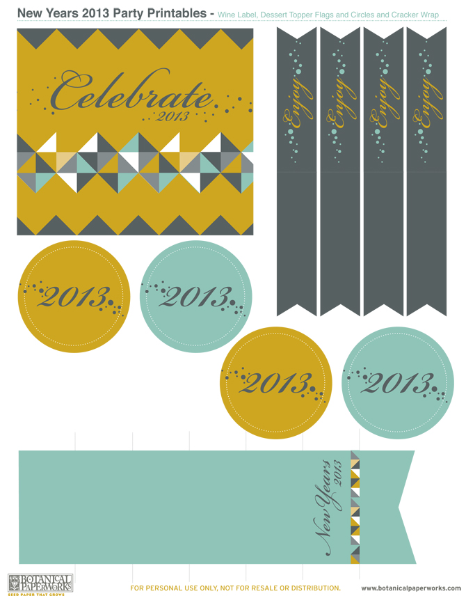 Botanical PaperWorks Free Printables: Hapy New Years Party Kit