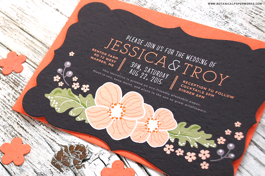 The Ornate Floral Wedding Invitation is both dramatic and elegant and perfect is the perfect style for spring and summer weddings. Not to mention that it's printed on seed paper so it's 100% eco-friendly and grows flowers!
