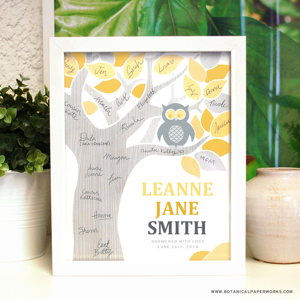 Instead of having baby shower guests sign a boring page in a book, ask them to sign the tree on this adorable Baby Shower Guest Book Wall Art.