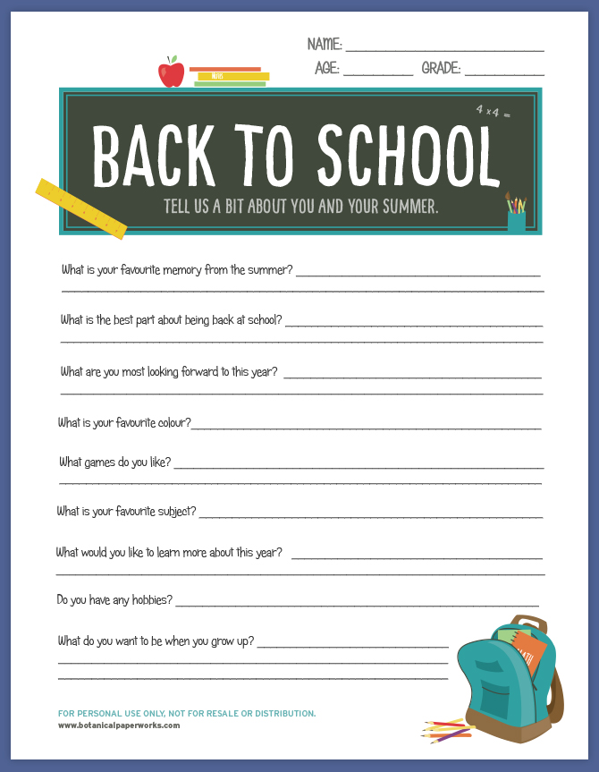 Give students a chance to share their exciting summer adventures and favorite things with this back-to-school printable.