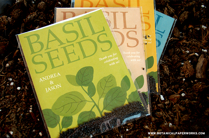 Looking for fun, eco-friendly wedding favors? Take a look at our beautifully designed Grow Together Basil Seed Packets. Your guests will be thrilled to take them home to plant and grow yummy basil!