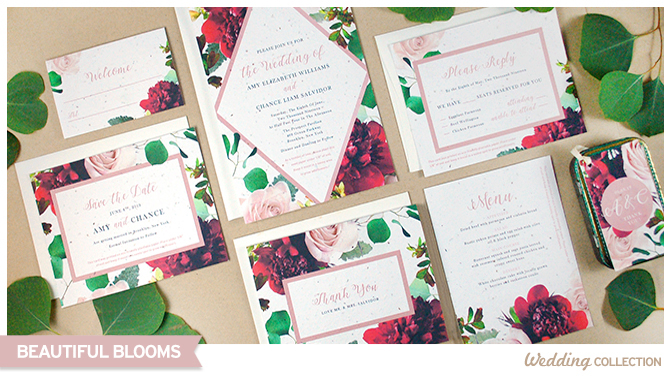 Learn more about the latest seed paper wedding invitations collection that is bursting with beautiful blooms!