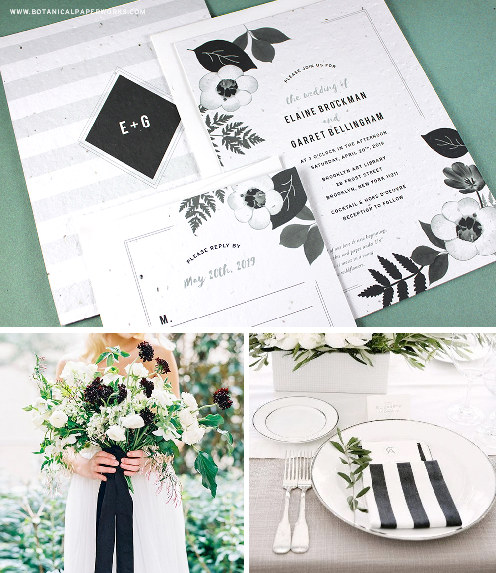 Learn more about these artful Plantable Wedding Invitations that feature black and white blooms and blossom into REAL wildflowers.