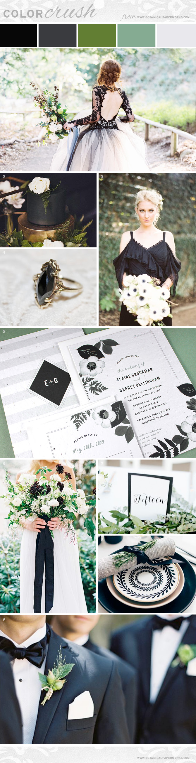 Take a look and get ideas for styling a black & white wedding with organic greenery accents.