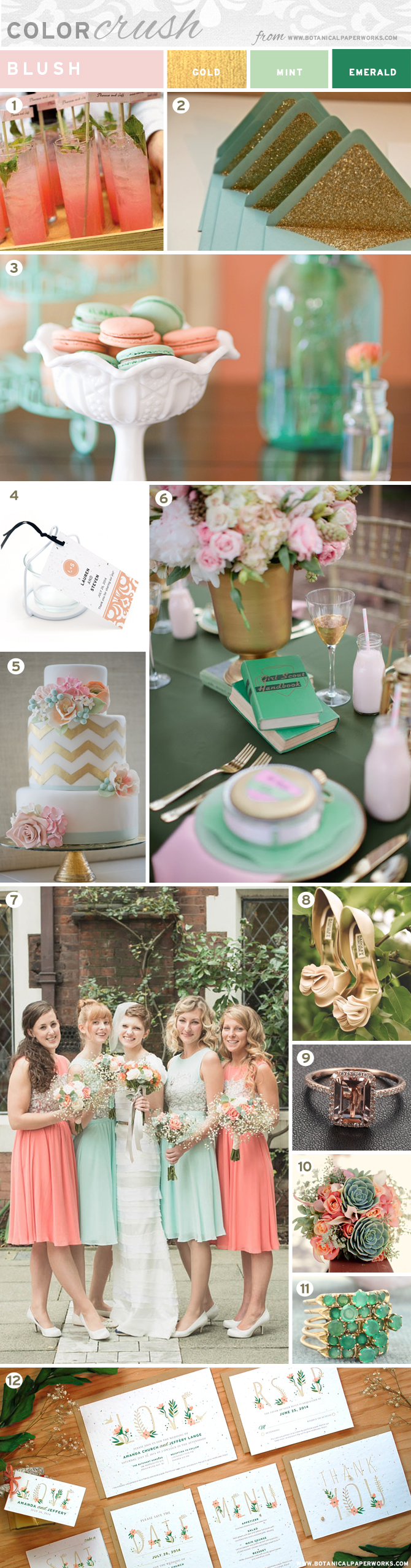 In love with this color palette: Blush, Mint, Emerald and Gold...I have a Color Crush too!