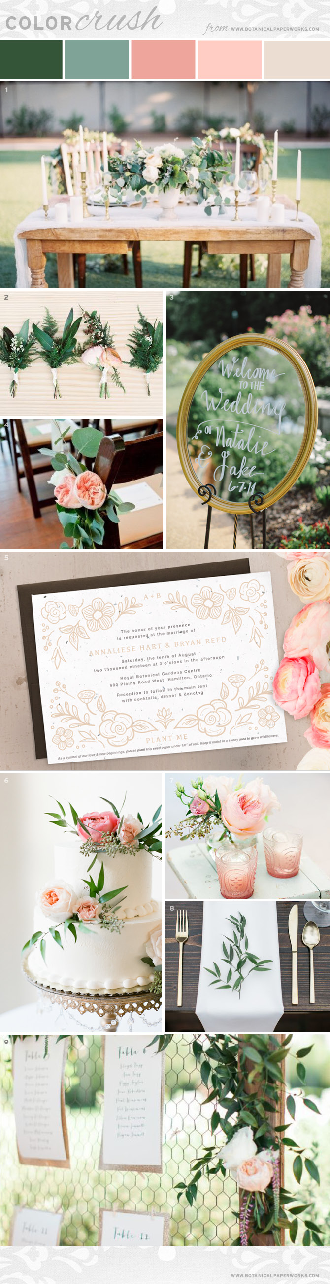Get wedding inspiration for styling a romantic summer wedding with beautiful botanical details.