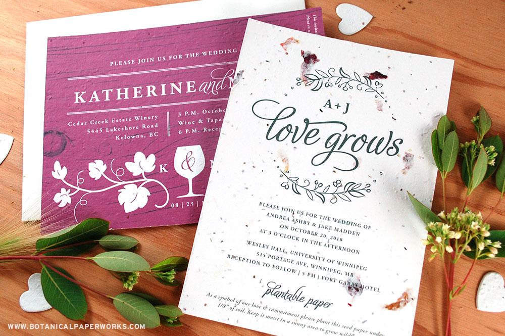plantable seed paper wedding invitations