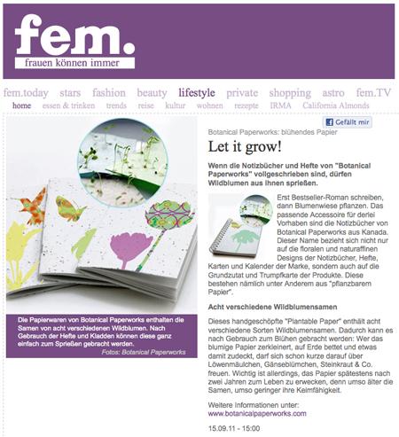 Botanical PaperWorks Plantable Paper Fem Magazine