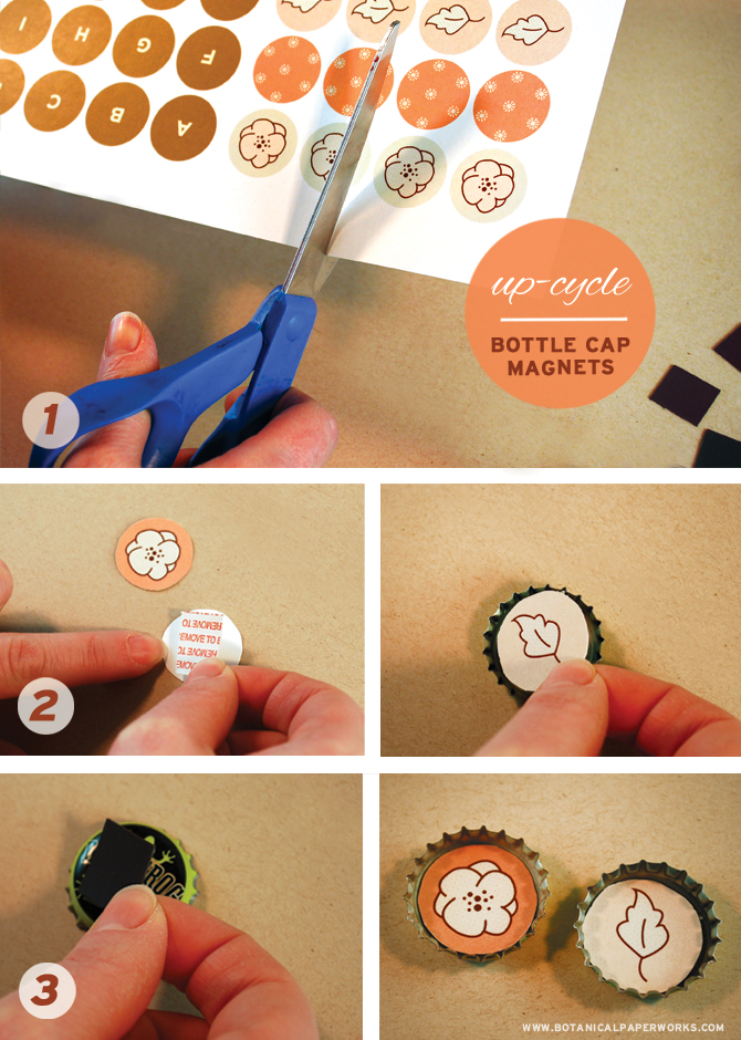 Up-cycle your old bottle caps into cute fridge magnets with this super easy tutorial with a free printable from Botanical PaperWorks