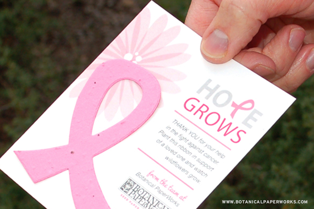 Attaching a seed paper awareness ribbon to your campaign sends a message of hope and inspiration