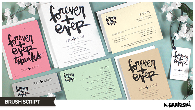 Take a closer look at this bold and artistic wedding invitations collection brush scripted by artist Kal Barteski and printed on seed paper.