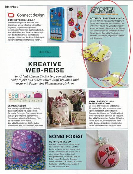 Botanical PaperWorks Feature in BurdaStyle Magazine