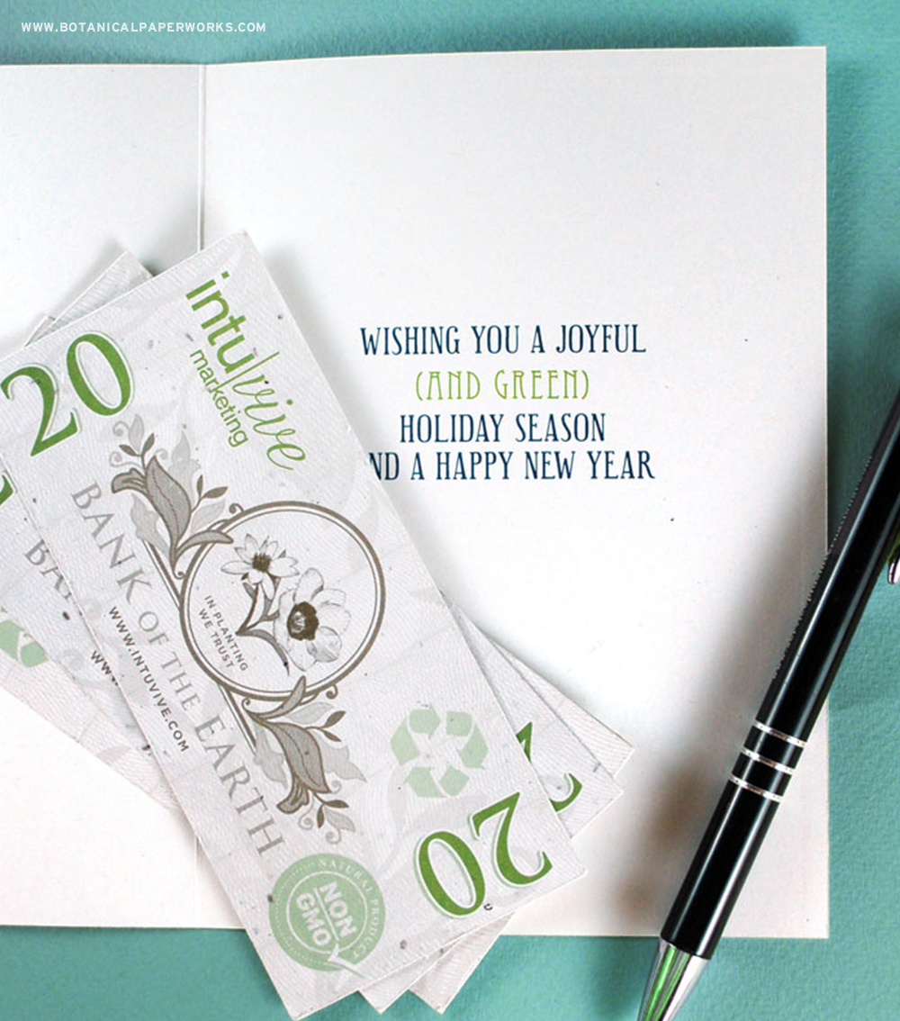 Seed paper money is stand out addition to your business holiday cards!
