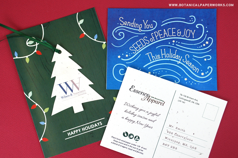 Plantable business holiday greetings send a positive message that will help build brand awareness and client relationships.