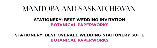 Botanical PaperWorks WINS 2 Awards for seed paper wedding invitations in the 2014 CWIA!