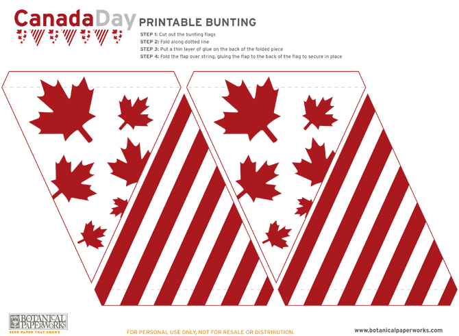 Here are your download files for your adorable Free Canada Day Bunting Printables!
