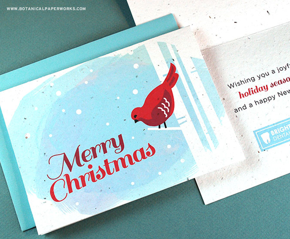 These classic wildflower seed paper cards are a cheerful way to share a holiday greeting while remaining eco-friendly.