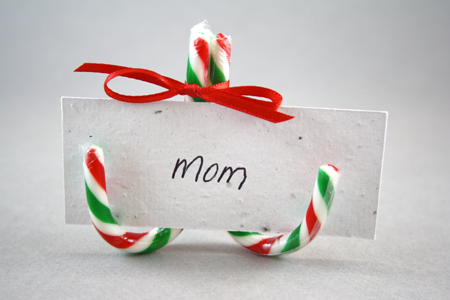 candy cane seed paper place card holder