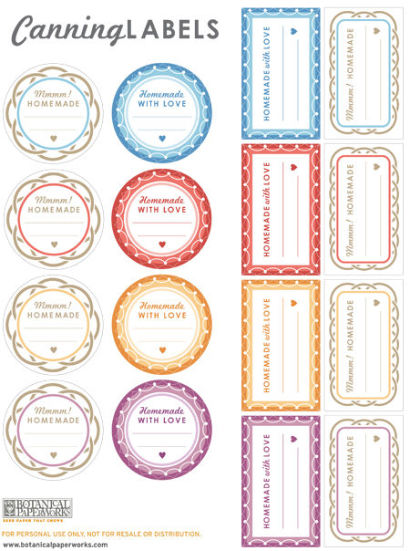 Botanical PaperWorks Free Printable Canning Labels