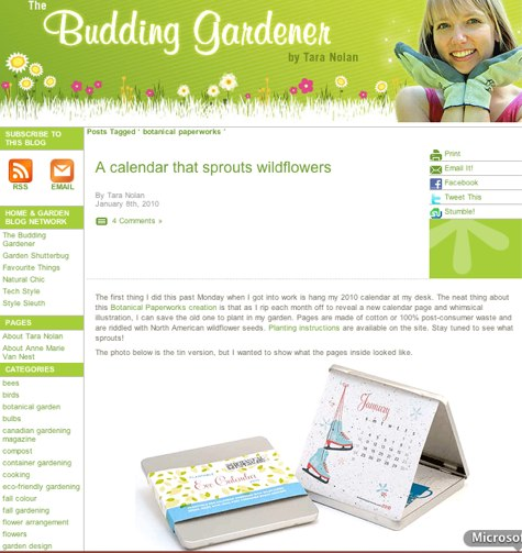 Canadian Gardening: The Budding Gardener Blog featuring plantable eco tin calendar
