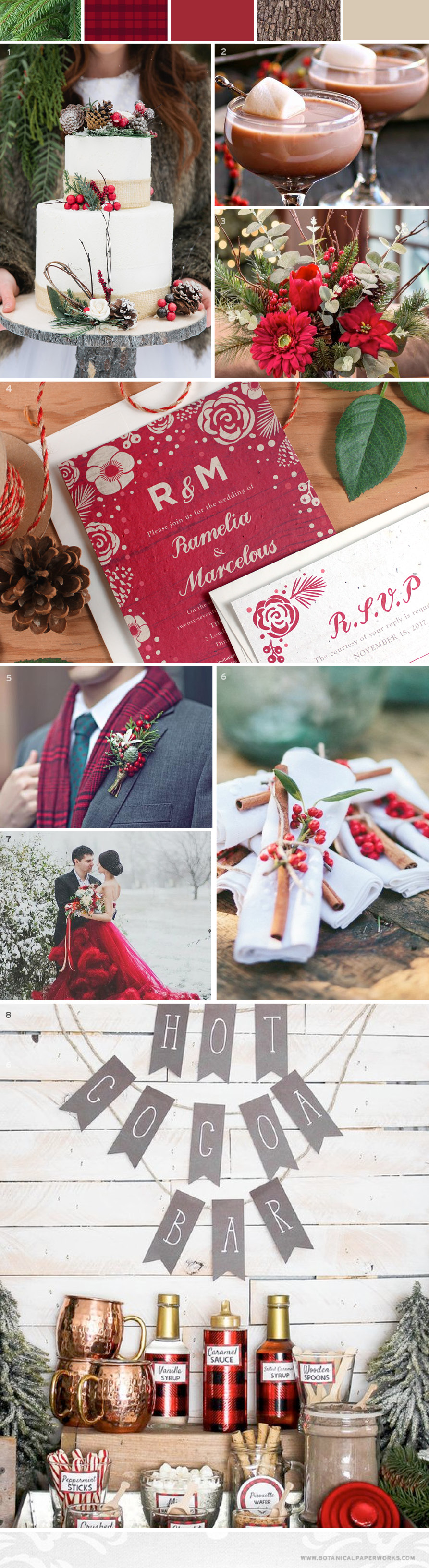 {inspiration board} Christmas weddings filled with festive charm and holiday cheer are the perfect way to celebrate with family and friends. Take a look at this collection of holiday inspired details that will make your Christmas wedding unforgettable.