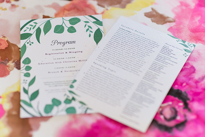 We were honored to have our Classic Greenery Plantable Wedding Stationery featured at the Las Vegas Wedding Industry Professionals Association event. Take a look at some beautiful photos from the event!